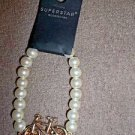 "Bicycle Charm Bracelet  Pearl  with Gold  8"" Stretch Superstar"