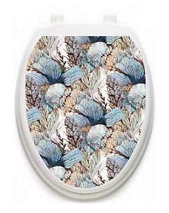 Toilet Tattoos Floral in the Mist   Lid Cover  Decor  Reusable Vinyl 1125