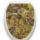 Toilet Tattoos Owls in the Pine  Lid Cover  Decor Silver Reusable Vinyl 1121
