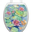 Toilet Tattoos  Seat Lid Decor  Lily Pads  1029 Decor Blue Pastels Vinyl