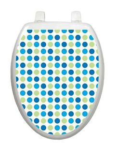 Toilet  Tattoos Dot to Dot Blues Vinyl Lid Cover Reusable Bathroom  Decoration