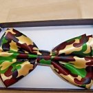 Bow Tie Camouflage Brown Green and Tan  Adjusts Hook and Clip Gift Boxed