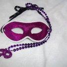 Eye Mask Glitter Purple Mask with Beads Mardi Gras   Adult