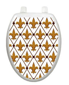 Toilet Tattoos Lid  Decor Gold and White Fleur-di-lis Vinyl Removable