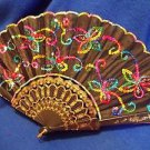 "Fan Sexy  Decorative Black with Rainbow Colored Sequins 17"" Wide Free Shipping"