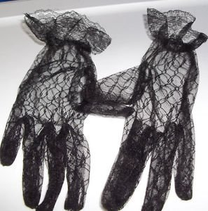 Gloves Black Ruffle Lace Stretch Sexy