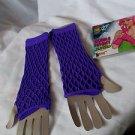 Fingerless Fishnet Gloves Purple Double Fishnet Nylon NEW Sexy