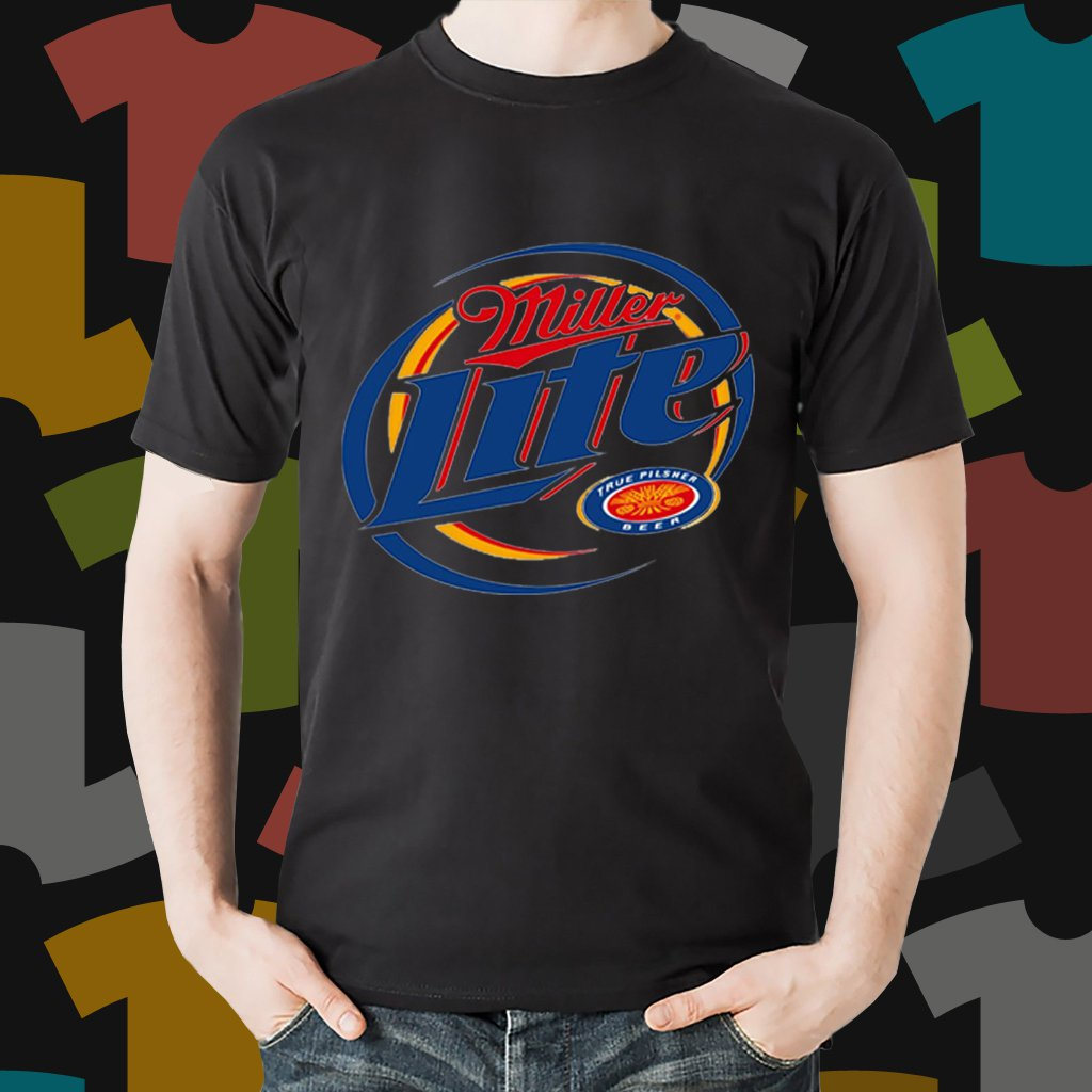 New Miller Lite 1 Beer Promo Brewery Black T-Shirt Tee Size S - 3XL