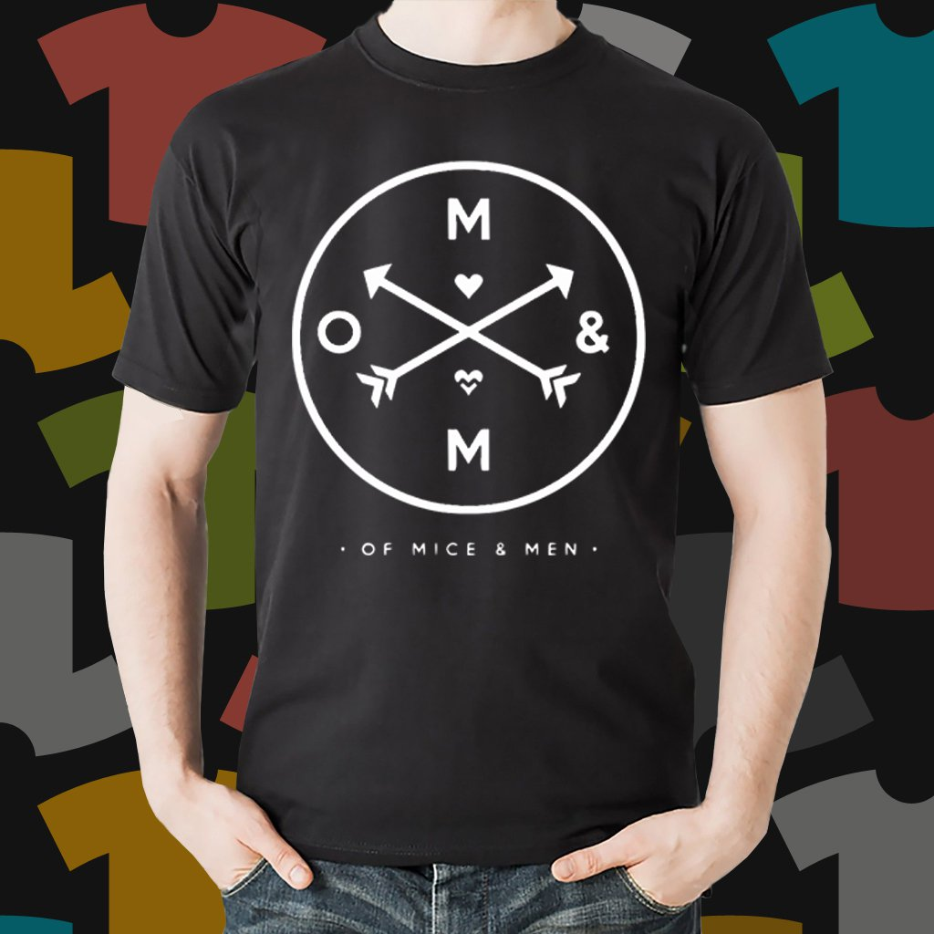 New Of Mice And Men Rock Band Logo Black T-Shirt Tee Size S - 3XL