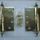 NEW UHP one pair Solid brass hinges Ball Bearing model 1640 polish brass finish