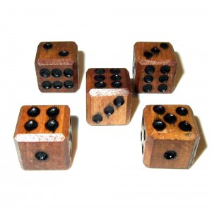 Wooden Dice - 5 Pack - Stained and Sealed