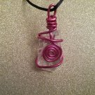 Red Spiral Wire Wrapped Sea Glass Pendant (#RSG99)