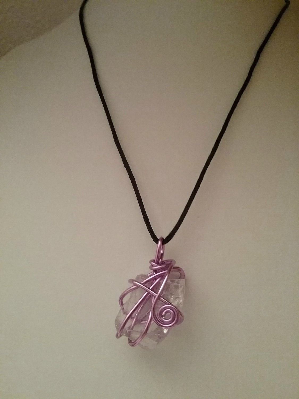 Purple Wire Wrapped Sea Glass Pendant (#PSG-2)