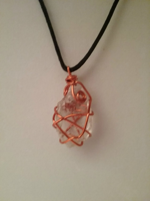 Orange Wire Wrapped Sea Glass Pendant (#CAL-409)