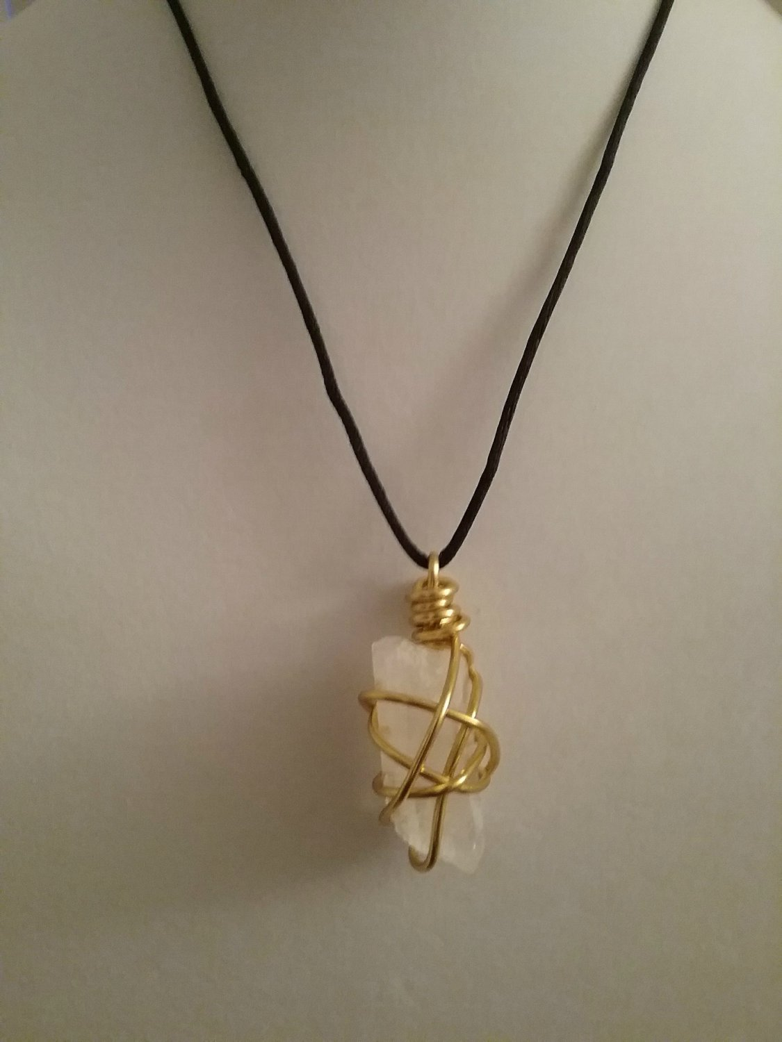 Gold Wire Wrapped Quartz Crystal  (#FEB-654)