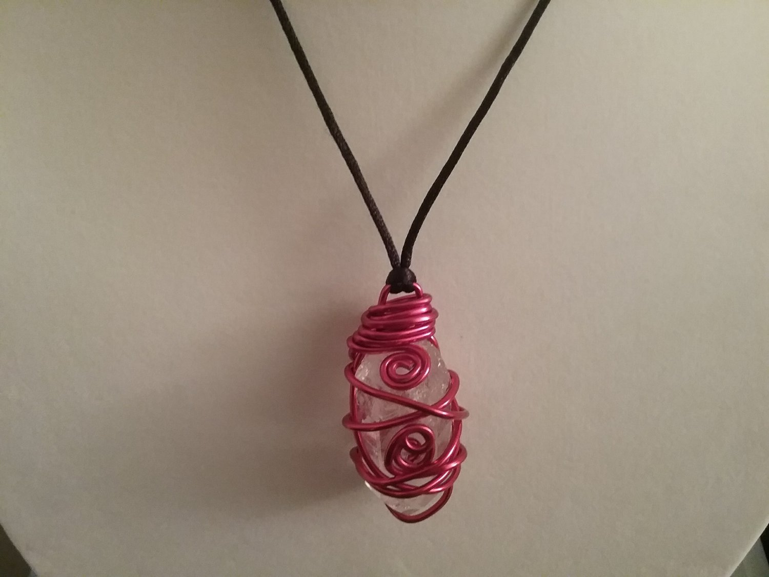Red Wire Wrapped Quartz Crystal  (#CRG-QRE33)