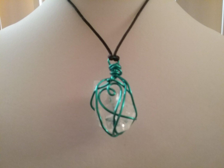 Blue Wire Wrapped Sea Glass Pendant. (#CRG-QB24)