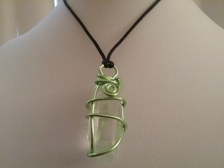 Green Wire Wrapped Quartz Crystal  (#CRG-QGR25)