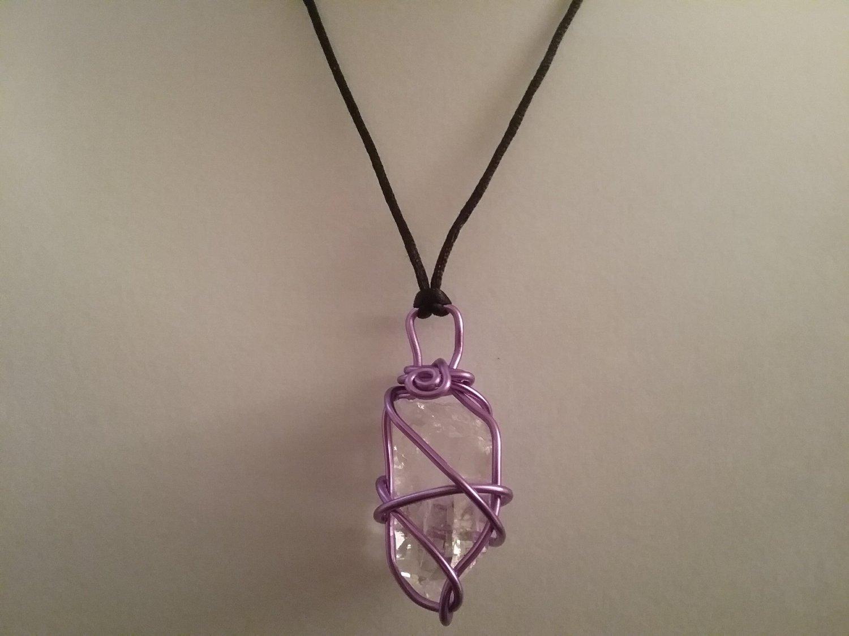 Purple Wire Wrapped Quartz Crystal  (#CRG-QP23)