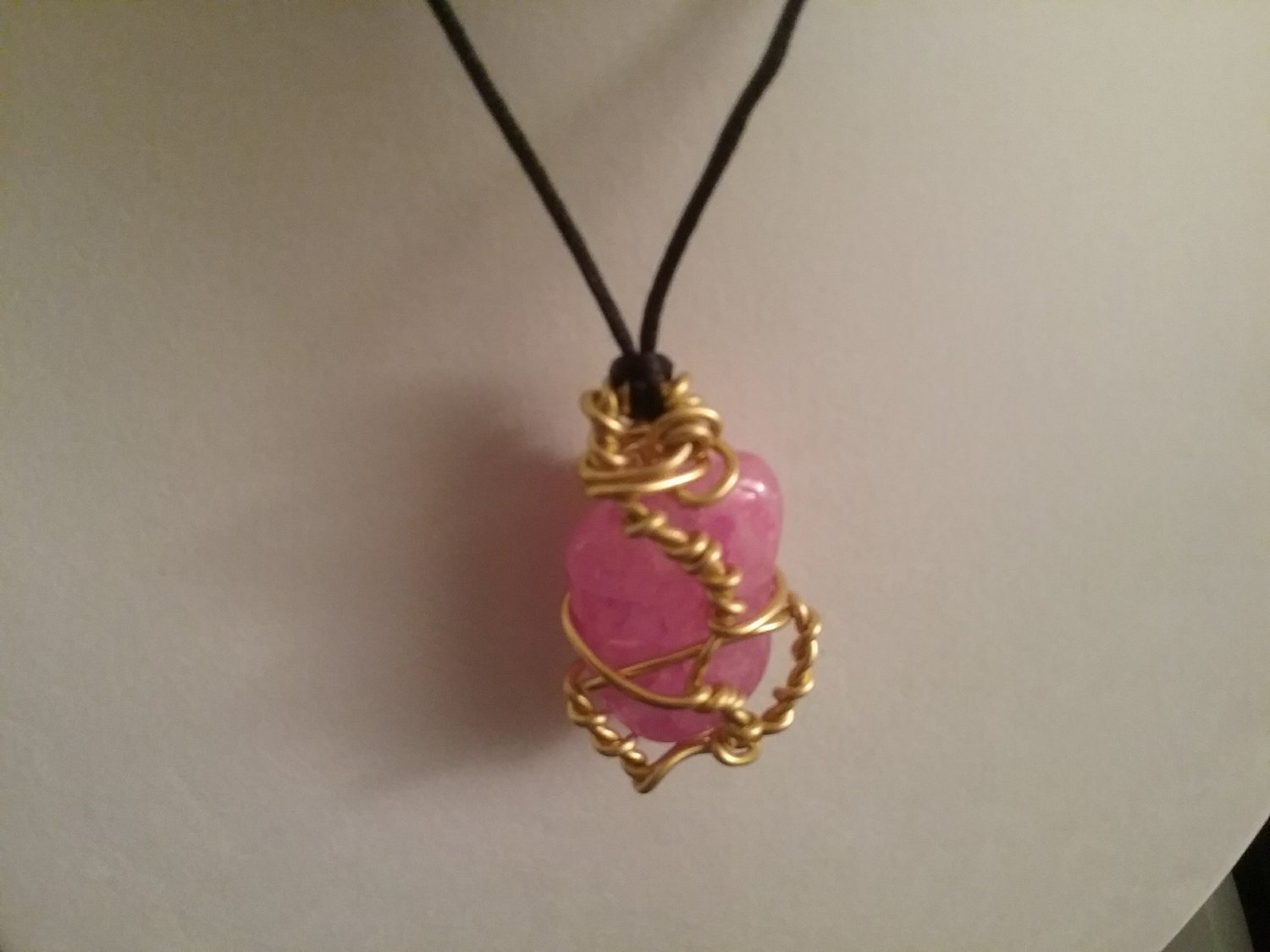 Pink Crackle Wire Wrapped Quartz Crystal - Reversable  (#PINK-CR1)