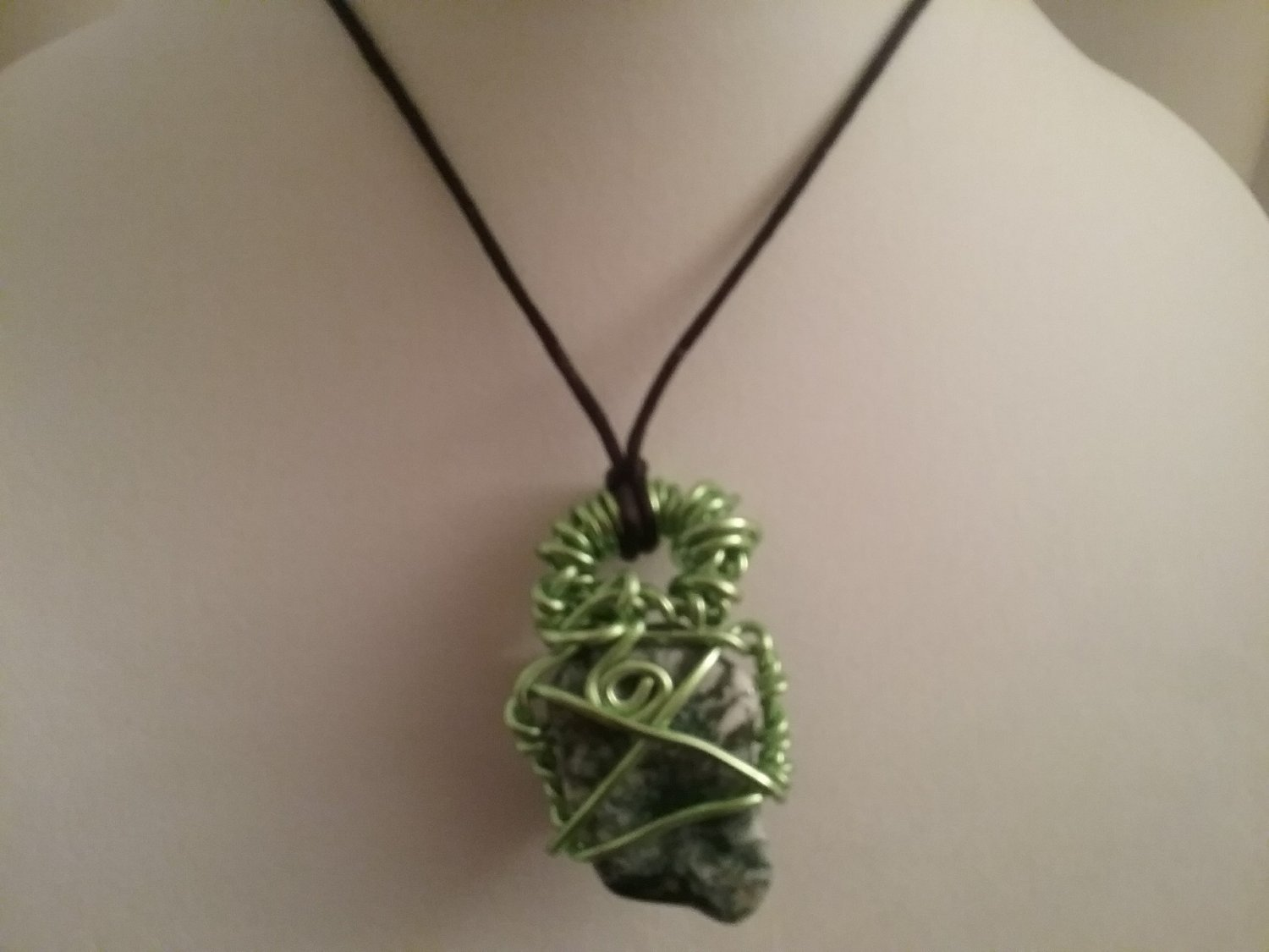 Green Wire Wrapped Seraphinite Crystal  (#SERA-NSL2)