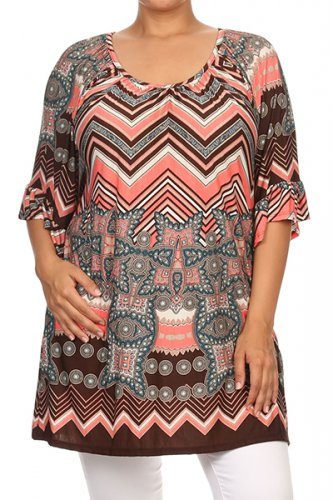 LOOSE FIT BELL SLEEVE PRINTED TOP *PLUS SIZE*
