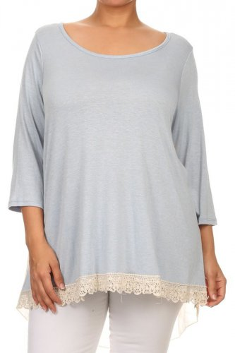 Plus size multi-fabric knit and woven 3/4 sleeve relaxed fit tunic