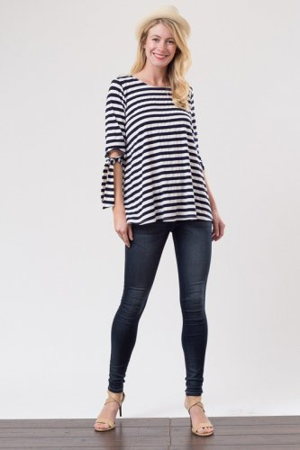 """Betsy Lou""  TIED SLEEVE BAND STRIPE TOP"