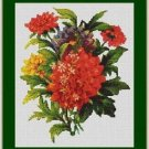 Cross-Stitch Embroidery Color Pattern with DMC codes - Victorian Garden Flowers