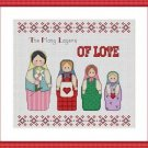 Cross-Stitch Embroidery Color Pattern with DMC codes - Russian Matryoshka Dolls
