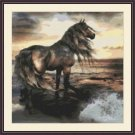 Cross-Stitch Embroidery Color PATTERN with DMC thread codes - Sunset Horse
