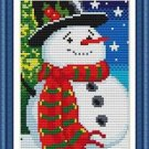 Cross-Stitch Embroidery Color Pattern with DMC codes - Christmas Snowman