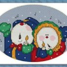 Cross-Stitch Embroidery Color Pattern with DMC codes - Christmas Snowmen Carol