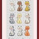 Cross-Stitch Embroidery Color Pattern with DMC codes - Nine Cats Sampler