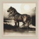 Cross-Stitch Embroidery Color PATTERN with DMC thread codes - Sunrise Horse