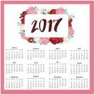 Year 2017 12 Month Calendar Art Kitchen Refrigerator Magnet - Colorful Flowers