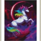 Cross-Stitch Embroidery Color Pattern with DMC codes - Rainbow Unicorn