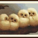 Cross-Stitch Embroidery Color Pattern with DMC codes - Cute Owl Babies