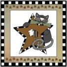 Primitive Country Folk Art Kitchen Refrigerator Magnet - Prim Cat & Star