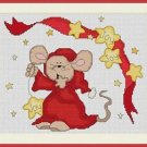 Cross-Stitch Embroidery Color Pattern with DMC thread codes - Christmas Mouse