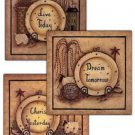 Set of 3 Primitive Country Folk Art Kitchen Fridge Magnets- Live~ Dream~ Cherish