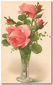 Beautiful Vintage Decor Collectible Kitchen Fridge Magnet - Pink Tea Roses
