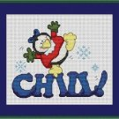 Cross-Stitch Embroidery Color Pattern with DMC codes - Chill Penguin Girl