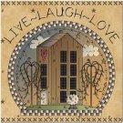 Primitive Country Folk Art Kitchen Refrigerator Magnet - Live ~ Laugh ~ Love