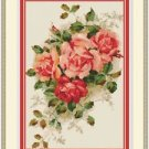 Cross-Stitch Embroidery Color PATTERN DMC thread codes - Pink Rose Bouquet
