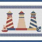Cross-Stitch Embroidery Color Digital Pattern w. DMC codes - Greek Lighthouses