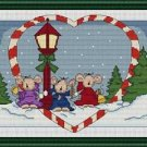 Cross-Stitch Embroidery Color Pattern DMC thread codes- Christmas Mice Carol #2