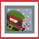 Cross-Stitch Embroidery Color Pattern with DMC codes -Cute Christmas Penguin Elf