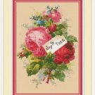 Cross-Stitch Embroidery Color PATTERN DMC thread codes - Victorian Rose Bouquet