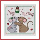 Cross-Stitch Embroidery Color Pattern with DMC thread codes - Merry Kissmas!